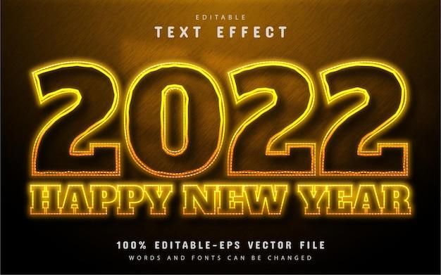 Szczęśliwego nowego roku 2022 efekt tekstowy żółty neon