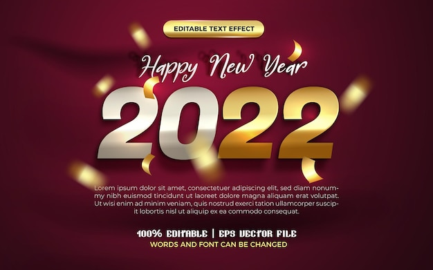 Szczęśliwego nowego roku 2022 elegancki złoty szablon transparentu balonowego z edytowalnym efektem tekstowym