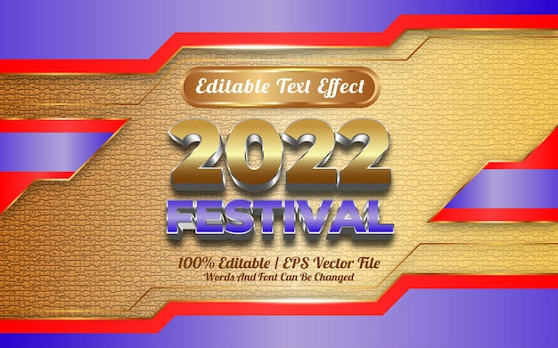 Szczęśliwego nowego roku 2022 festiwal z edytowalnym stylem szablonu efektu tekstowego