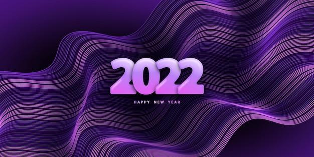 Szczęśliwego nowego roku 2022 fioletowe faliste tło z numerami 3d