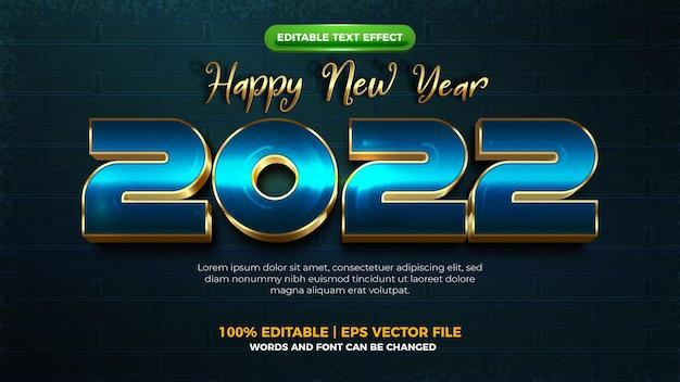 Szczęśliwego nowego roku 2022 futurystyczny nowoczesny efekt 3d do edycji tekstu