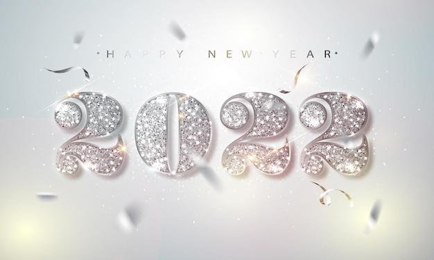 Szczęśliwego nowego roku 2022 kartkę z życzeniami ze srebrnymi cyframi i ramką konfetti na białym tle. ilustracja wektorowa. wesołych świąt projekt ulotki lub plakatu.