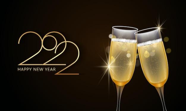 Szczęśliwego nowego roku 2022. kieliszki szampana i złoty elegancki napis. wektor