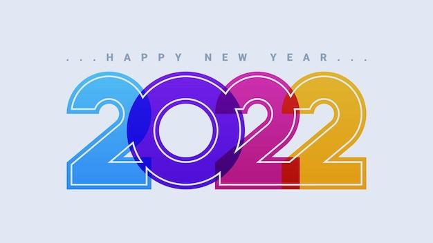 Szczęśliwego nowego roku 2022 kolorowa kartka z życzeniami