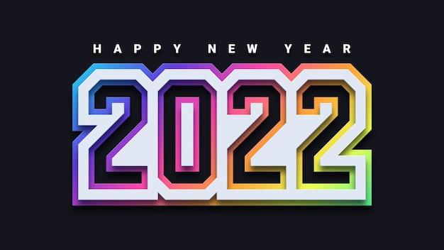 Szczęśliwego nowego roku 2022 kolorowy projekt 3d
