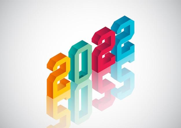 Szczęśliwego nowego roku 2022 kreatywna koncepcja projektowania z numerem 3d
