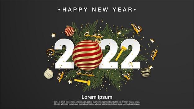 Szczęśliwego nowego roku 2022 liczby na zielonych gałęziach jodły na czarnym tle