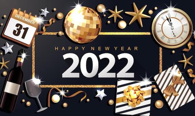 Szczęśliwego nowego roku 2022 luksusowy baner ze złotą wstążką w pudełku i kokardą w ramce na czarnym tle