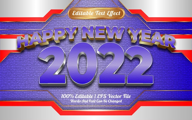 Szczęśliwego nowego roku 2022 luksusowy biało-niebieski złoty efekt tekstowy do edycji