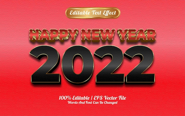 Szczęśliwego nowego roku 2022 luksusowy czerwony i czarny złoty efekt tekstu tekstury