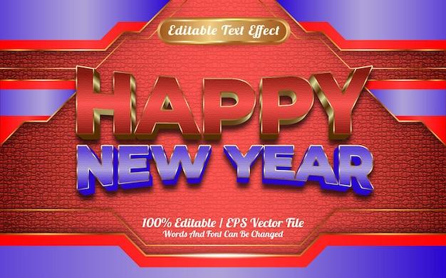 Szczęśliwego nowego roku 2022 luksusowy czerwony i niebieski złoty efekt tekstu do edycji