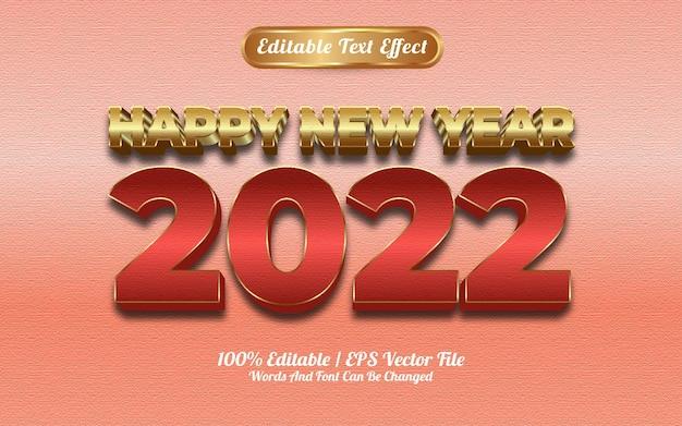 Szczęśliwego nowego roku 2022 luksusowy czerwony złoty efekt tekstowy