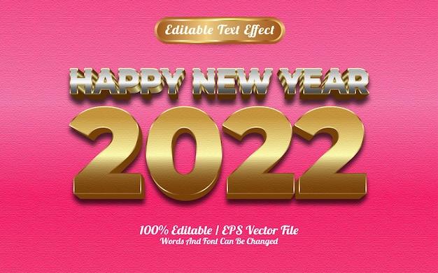 Szczęśliwego nowego roku 2022 luksusowy efekt tekstu w srebrnym i złotym stylu