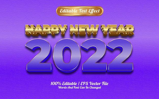 Szczęśliwego nowego roku 2022 luksusowy niebieski złoty efekt tekstu tekstury