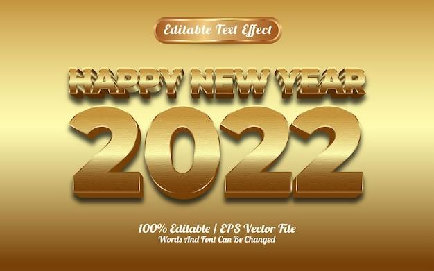 Szczęśliwego nowego roku 2022 luksusowy złoty efekt tekstowy