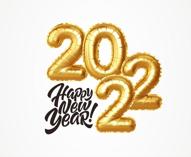 Szczęśliwego nowego roku 2022 metaliczne balony złota folia na białym tle. złote balony z helem numer 2022 nowy rok. ilustracja wektorowa eps10