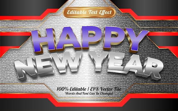 Szczęśliwego nowego roku 2022 niebiesko-biała złota tekstura z edytowalnym efektem tekstowym