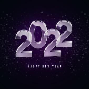 Szczęśliwego nowego roku 2022 piękne szklane przezroczyste liczby na białym tle na ciemnym tle