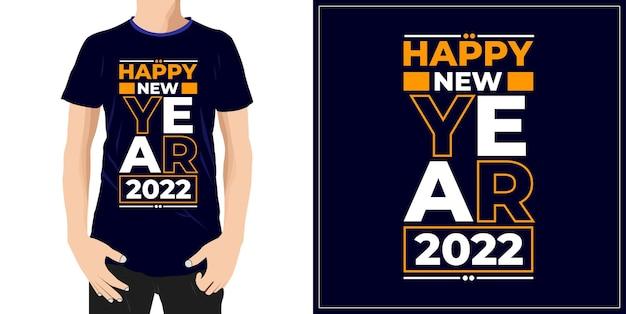 Szczęśliwego nowego roku 2022 projekt gotowy na etykietę kubek tshirt lub druk premium wektor