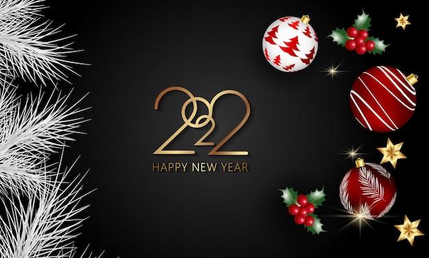 Szczęśliwego nowego roku 2022 realistyczne eleganckie szablony wektorowe realistyczne prezenty i świąteczne girlandy