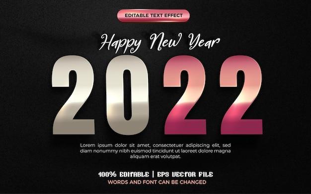 Szczęśliwego nowego roku 2022 srebrne różowe złoto z edytowalnym efektem tekstowym