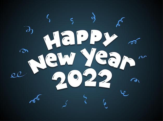 Szczęśliwego nowego roku 2022 stylu cartoon odręczny napis napis kartkę z życzeniami lub projekt kalendarza