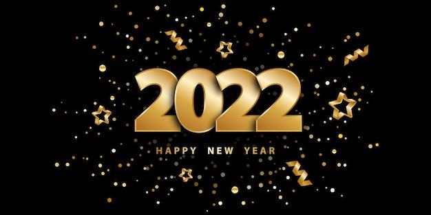 Szczęśliwego nowego roku 2022 świąteczne czarne tło z konfetti ze złotymi cyframi i gwiazdami