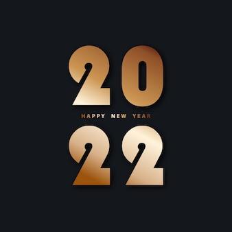 Szczęśliwego nowego roku 2022 świąteczne czarne tło ze złotymi cyframi