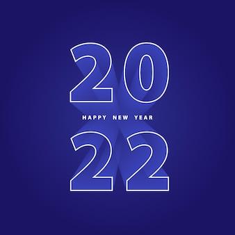 Szczęśliwego nowego roku 2022 świąteczne niebieskie tło z numerami 3d