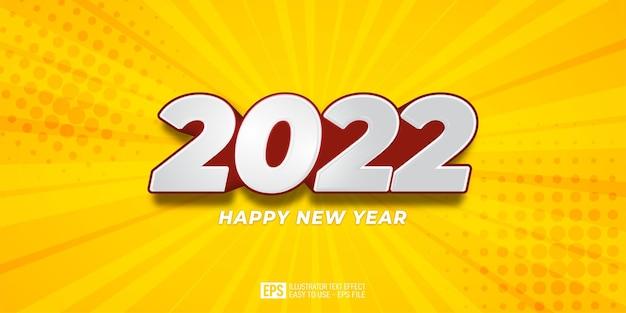 Szczęśliwego nowego roku 2022 szablon efektu edycji tekstu 3d