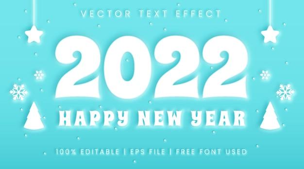Szczęśliwego nowego roku 2022 tekst, neumorfizm i zimowy styl efektu tekstu