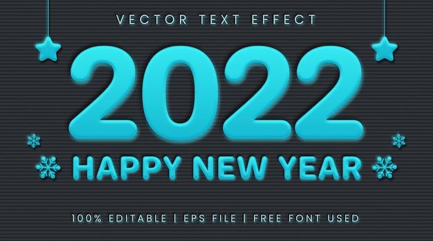 Szczęśliwego nowego roku 2022 tekst, styl efektu tekstu neumorfizmu