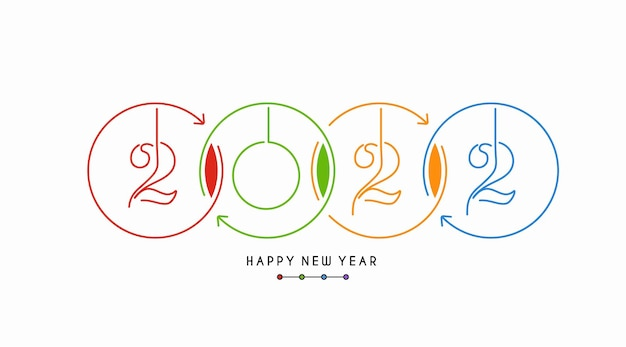 Szczęśliwego nowego roku 2022 tekst typografia design tupot, ilustracji wektorowych.