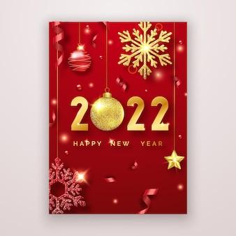Szczęśliwego nowego roku 2022 tło z błyszczącymi cyframi, gwiazdami, kulkami i wstążkami