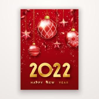 Szczęśliwego nowego roku 2022 tło z błyszczącymi cyframi gwiazdy konfetti kulki i wstążki