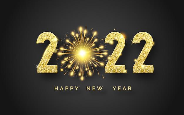 Szczęśliwego nowego roku 2022 tło z błyszczącymi cyframi i fajerwerkami