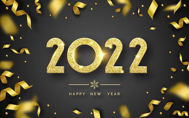 Szczęśliwego nowego roku 2022 tło z błyszczącymi cyframi i wstążkami
