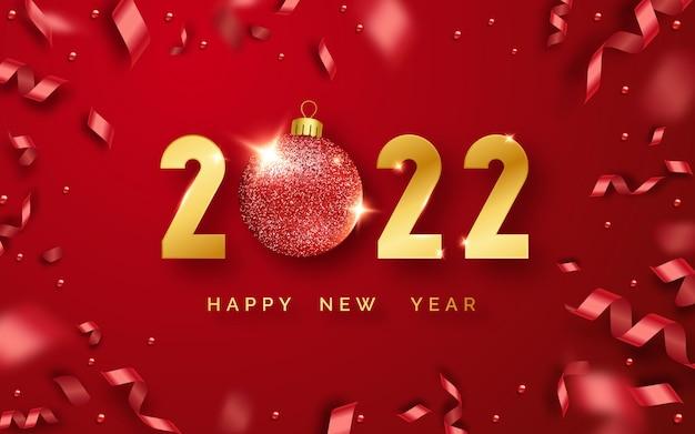 Szczęśliwego nowego roku 2022 tło z błyszczącymi cyframi, kulkami i wstążkami