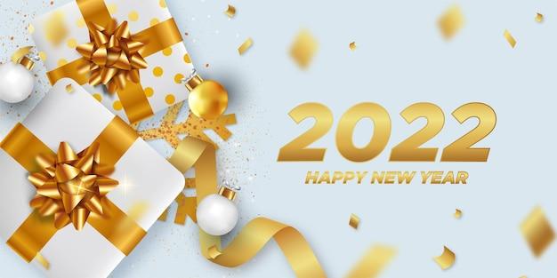 Szczęśliwego nowego roku 2022 tło z elegancką dekoracją świąteczną