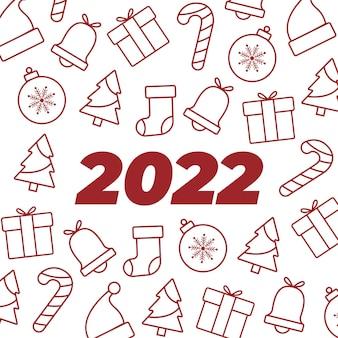 Szczęśliwego nowego roku 2022 tło z płaskim wzorem świątecznym