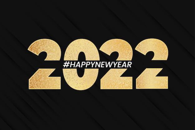Szczęśliwego nowego roku 2022 transparent tło z eleganckimi złotymi cyframi