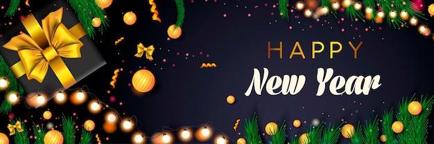 Szczęśliwego nowego roku 2022 transparent wakacje boże narodzenie koncepcja ciemne tło boże narodzenie plakat z sosną