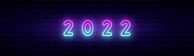 Szczęśliwego nowego roku 2022 w neonowym stylu