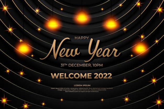 Szczęśliwego nowego roku 2022 z czarnym złotym stylem backround