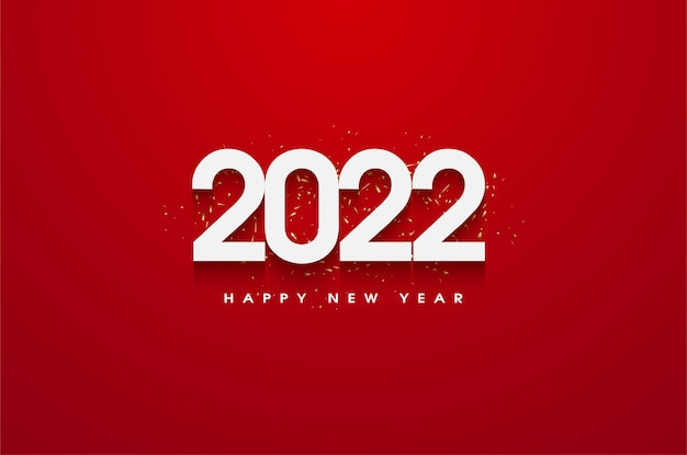 Szczęśliwego nowego roku 2022 z czerwonym tłem