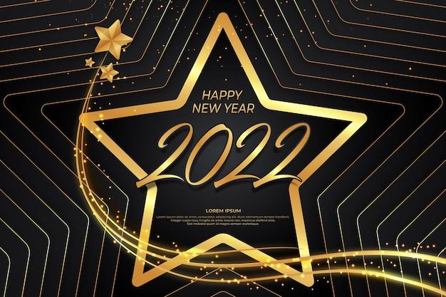 Szczęśliwego nowego roku 2022 z gwiazdą w czarnym złotym stylu backround
