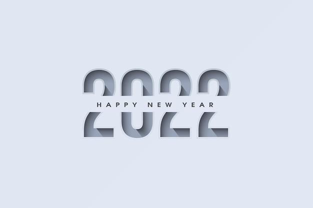 Szczęśliwego nowego roku 2022 z ilustracją liczb na białym papierze