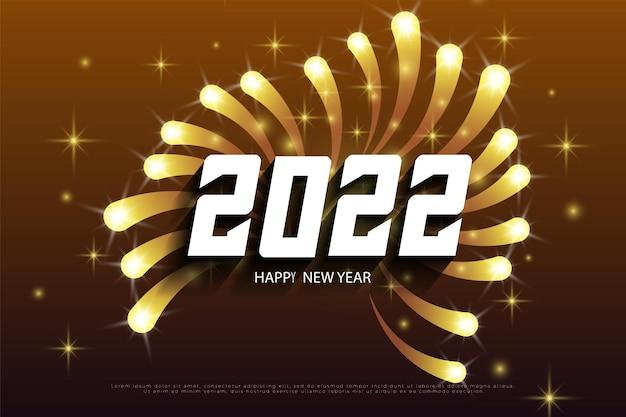Szczęśliwego nowego roku 2022 z iskrami fajerwerków zdobiącymi liczby