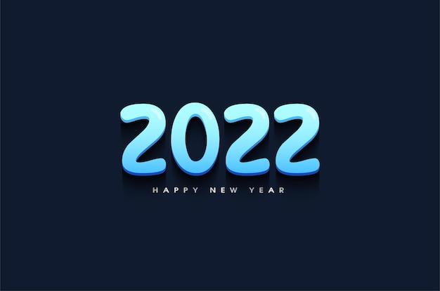 Szczęśliwego nowego roku 2022 z jasnoniebieską ilustracją liczb 3d