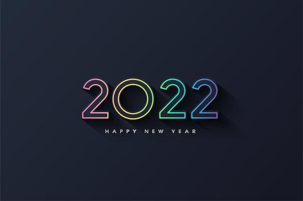 Szczęśliwego nowego roku 2022 z kolorowym konturem